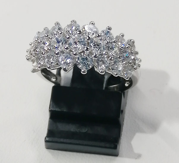 925 Silver 3 Row CZ Cluster Ring