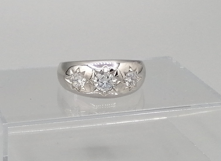 925 Silver 3 Stone CZ Star Band Ring