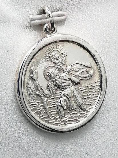 925 Silver Polished St Christopher