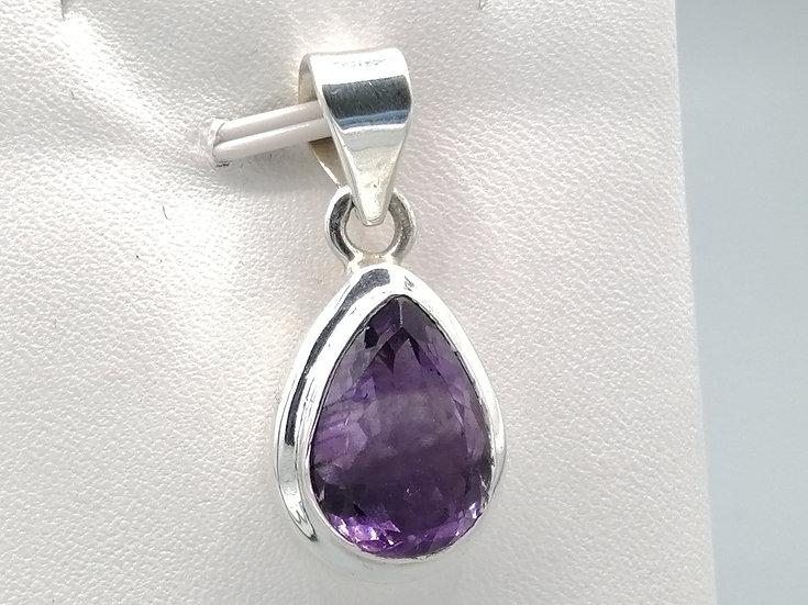 925 Silver Amethyst Teardrop Pendant