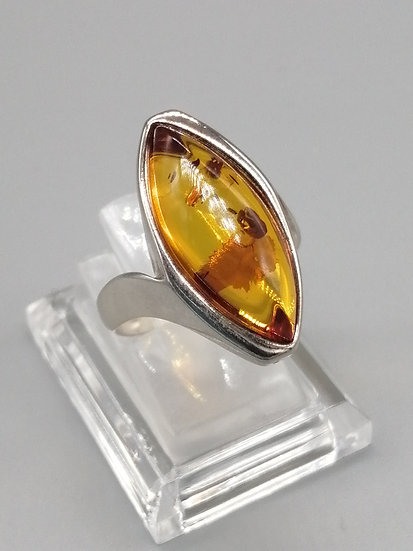 925 Silver Marquise Baltic Amber Ring