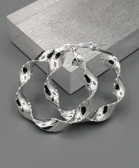 925 Silver Diamond Cut Twist Hoop Earrings