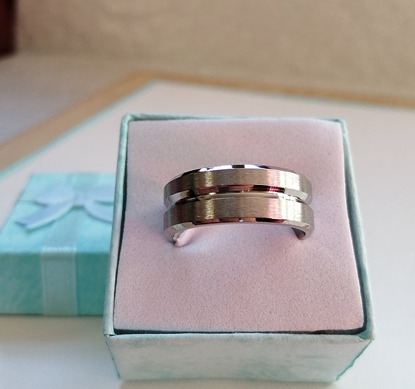 8mm Brushed Two Lines Stainless Steel Band Ring