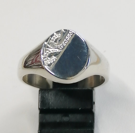 925 Silver Engraved Signet Ring
