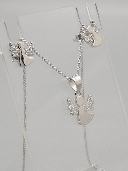 925 Silver CZ Angel Pendant, Chain and Earrings Set