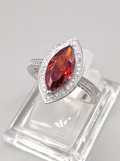 925 Silver Marquise Red & White CZ Ring