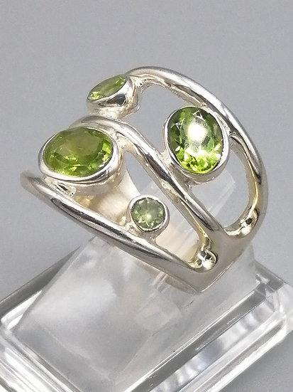 925 Silver Peridot Fancy Wave Ring