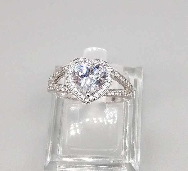 925 Silver CZ Iced Heart Ring