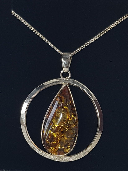 925 Sterling Silver Cognac Amber Tear Drop Circle Pendant
