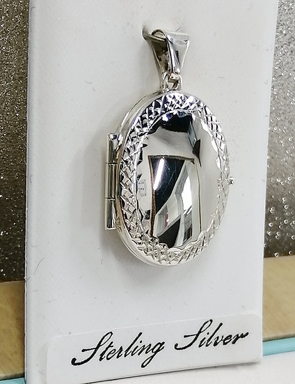 925 Silver D/C Mirror Oval Locket