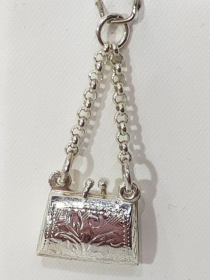 925 Sterling Silver Engraved Clutch Bag Charm