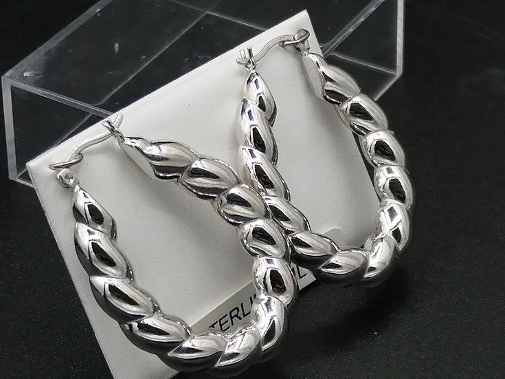 925 Silver Fancy Twisted U Hoop Earrings