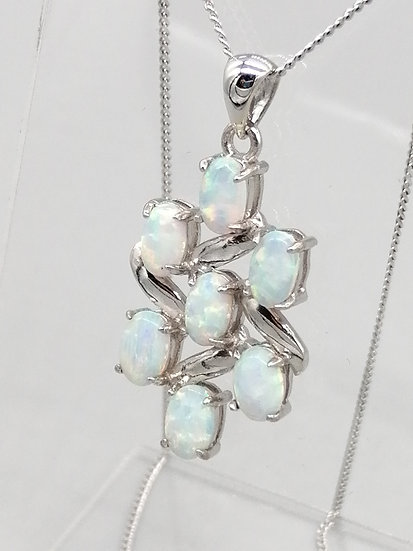 925 Silver Opal Scatter Pendant & Chain