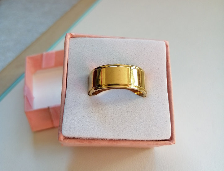 8mm Polished Gold Stainless Steel Band Ring