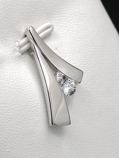 925 Silver CZ Wishbone Pendant
