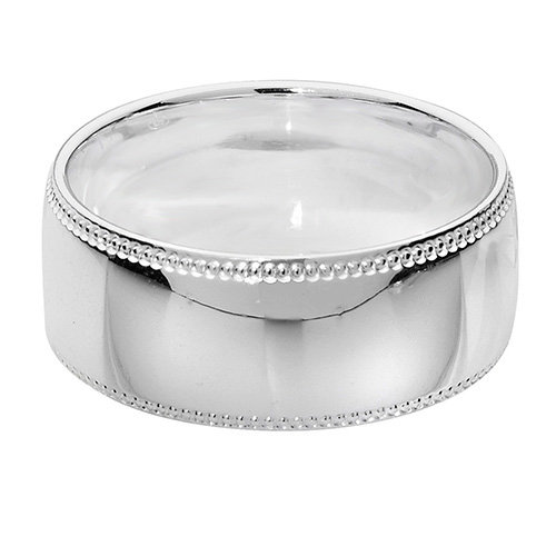 925 Silver 8mm Bead Edge Band - Court - Special Order*