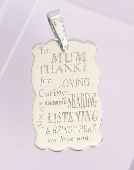 925 Silver Special 'Thank You' Mum Tag