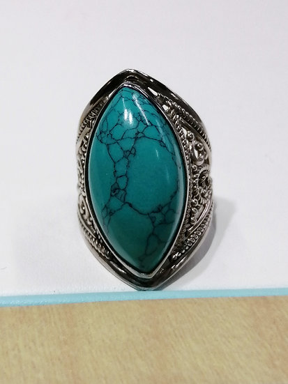 925 Silver Marquise Blue Stone Ring