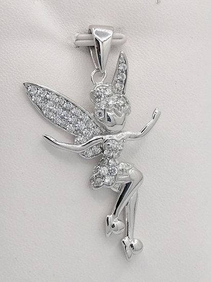925 Silver CZ Fairy Pendant