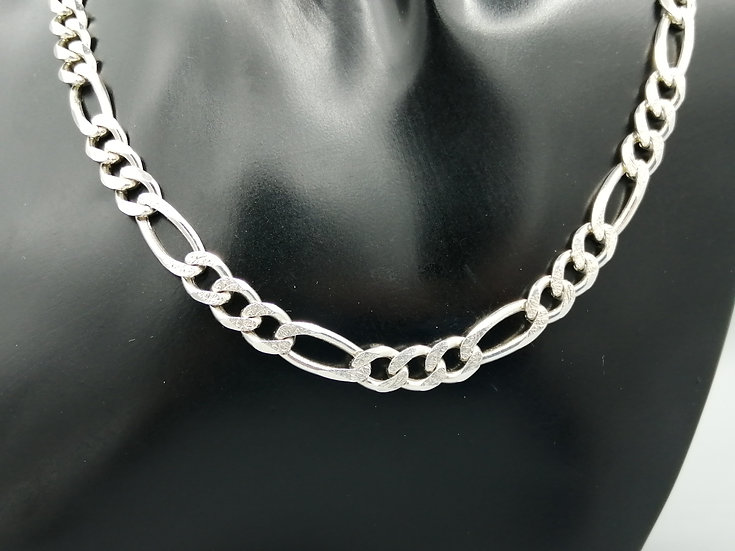 925 Silver Frosted & Plain Figero Chain