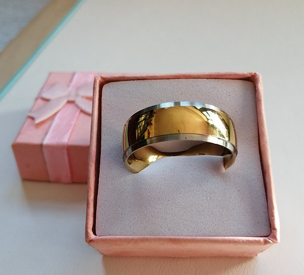 8mm Gold Strip Stainless Steel Band Ring