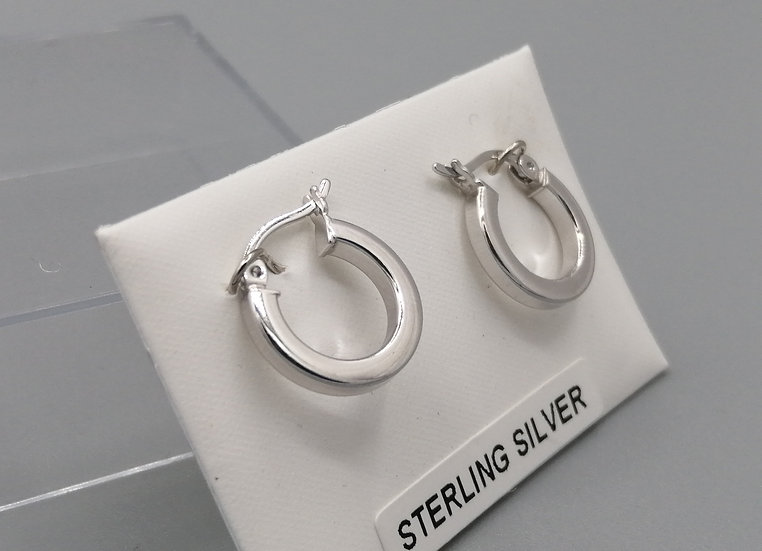 925 Silver Flat Plain Hoop Earrings