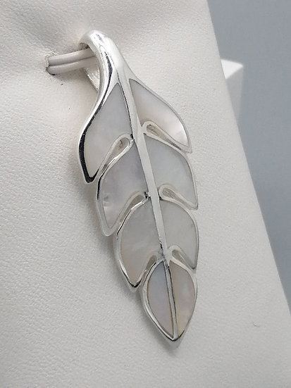 925 Silver Mother of Pearl Leaf Pendant