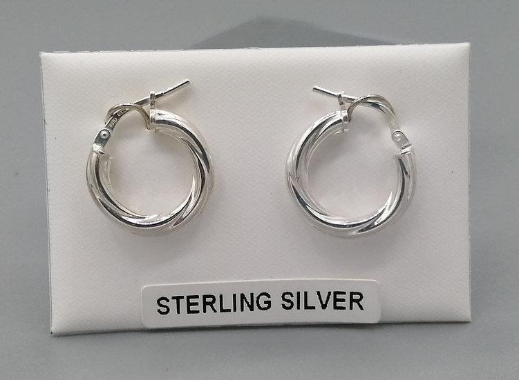 925 Silver Cable Twist Hoop Earrings