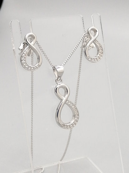 925 Silver CZ Infinity Knot Pendant, Chain and Earrings Set