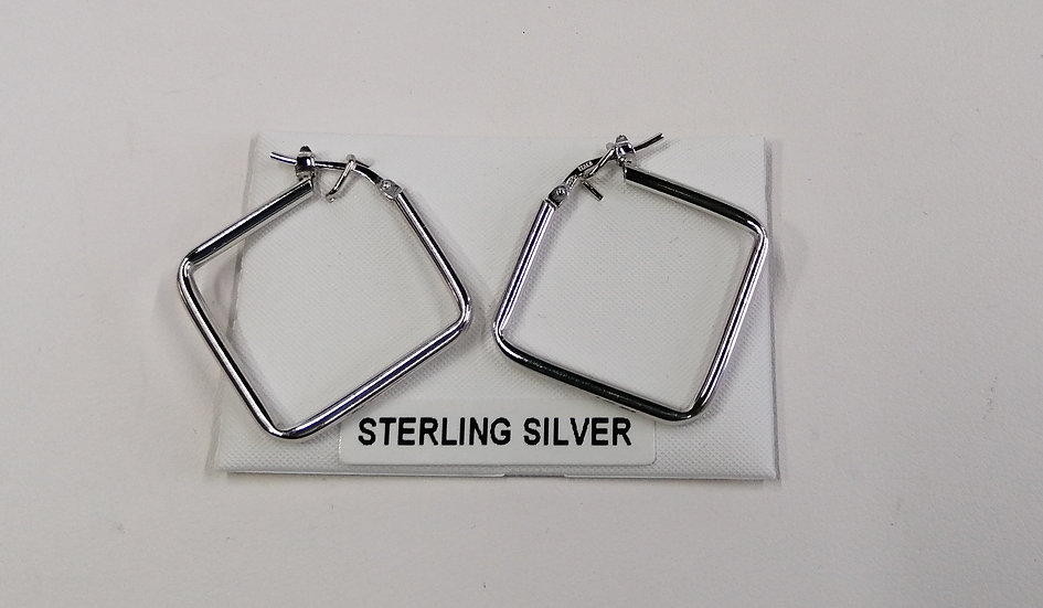 925 Silver Diamond Square Earrings