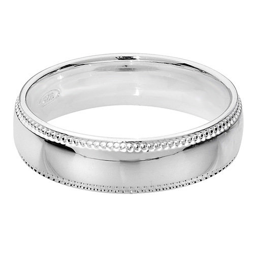925 Silver 5mm Bead Edge Band - Court - Special Order*