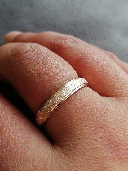 4mm Rose Gold Sparkle Dust Stainless Steel Band Ring