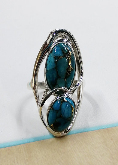 925 Silver Turquoise Oval Wrap Ring