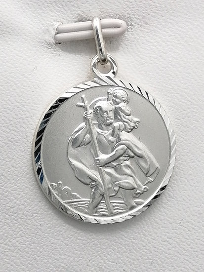 925 Silver Diamond cut St Christopher