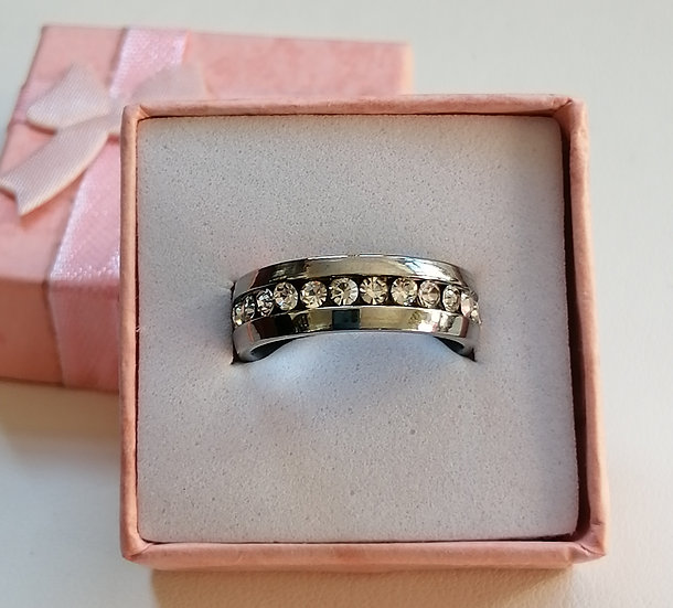 6mm White CZ Stainless Steel Band Ring