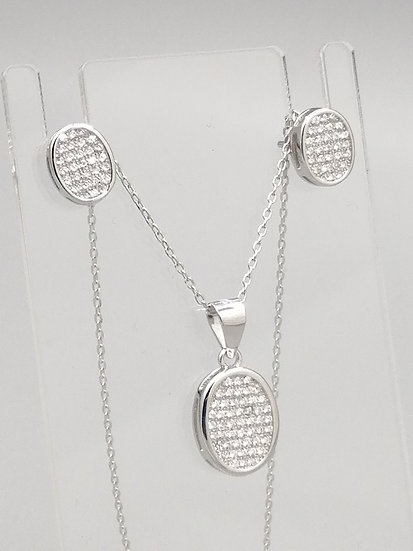 925 Silver Iced CZ Ovals Pendant, Chain and Earrings Set