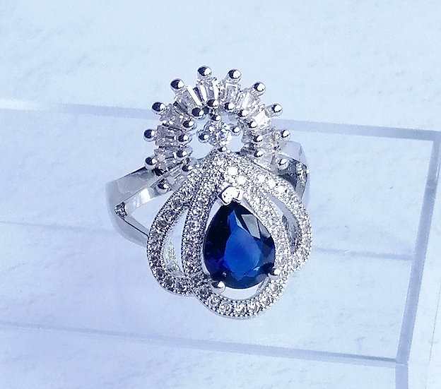 Sapphire Blue & White CZ Iced Fancy Ring