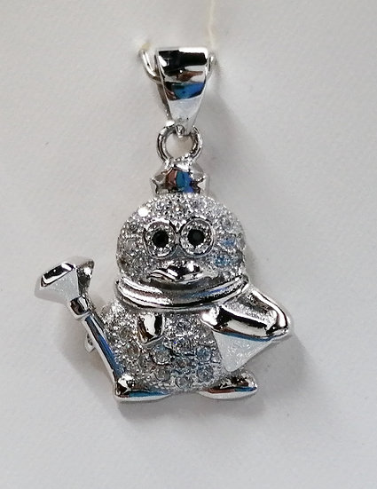 925 Sterling Silver CZ Penguin Charm
