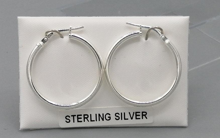 925 Silver Plain Hoop Earrings