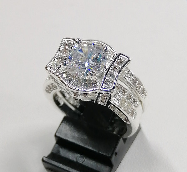 Silver CZ Solitaire Double Rings
