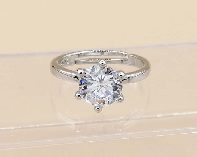 Silver CZ Solitaire Ring