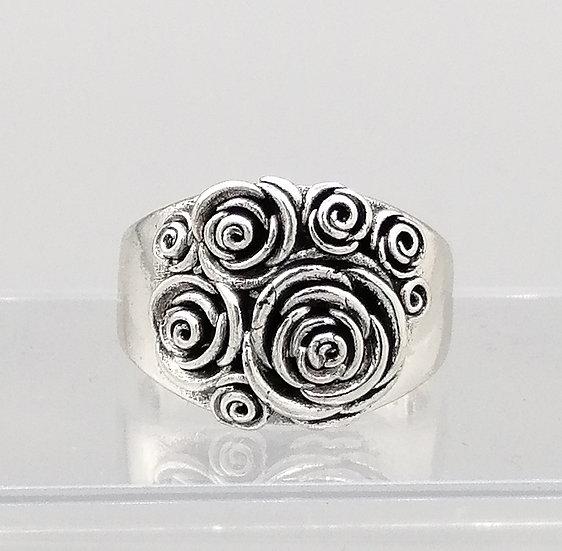 Silver Vintage Rose Flower Ring