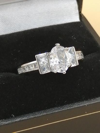 Silver CZ Princess Oval Ring