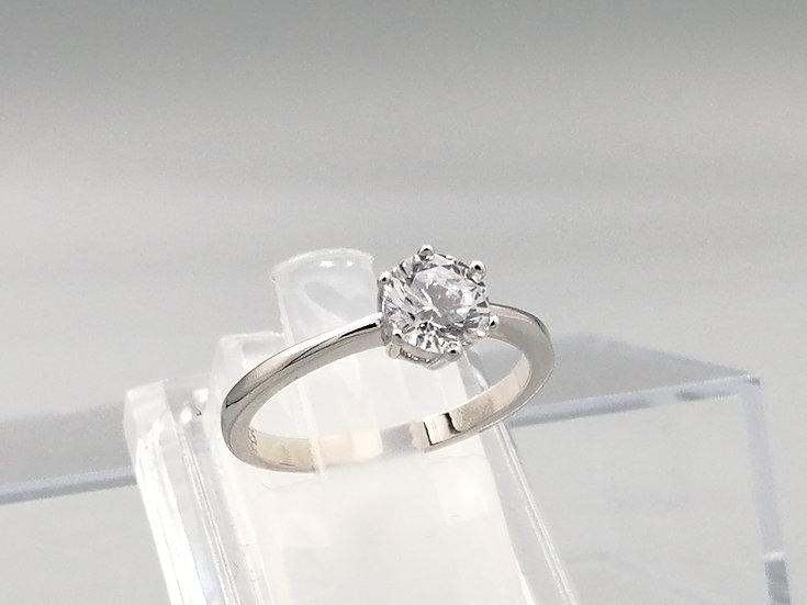 Silver Single Stone CZ Solitaire Ring