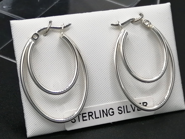 925 Silver Double Oval Hoop Earrings