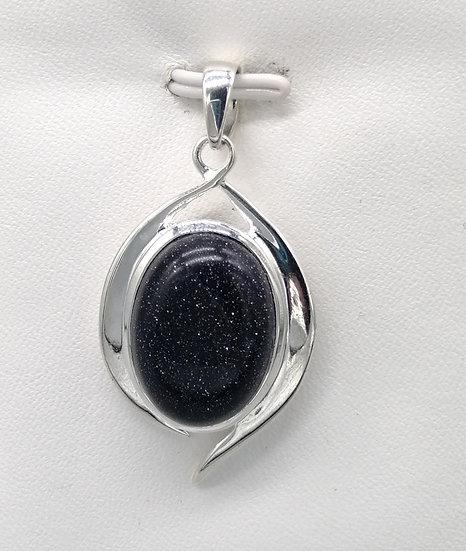 925 Silver Blue Goldstone Pebble Wave Pendant