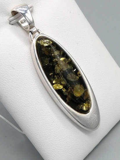 925 Silver Green Amber Oval Mirror Pendant