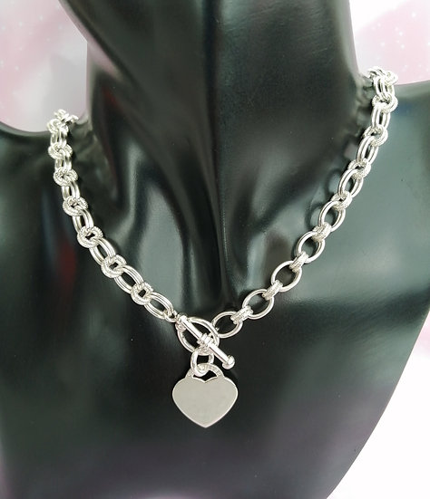 925 Silver Double Ovals Heart T-Bar Chain