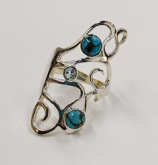 925 Silver Turquoise & Blue Topaz Abstract Ring