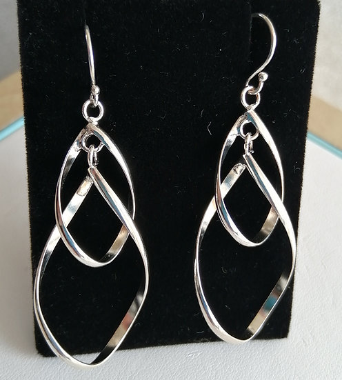 925 Silver Double Spiral Twist Drop Earrings